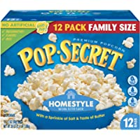 Pop Secret Popcorn, Homestyle, 3.2 Ounce Microwave Bags, 12 Count Boxes (Pack of 4)