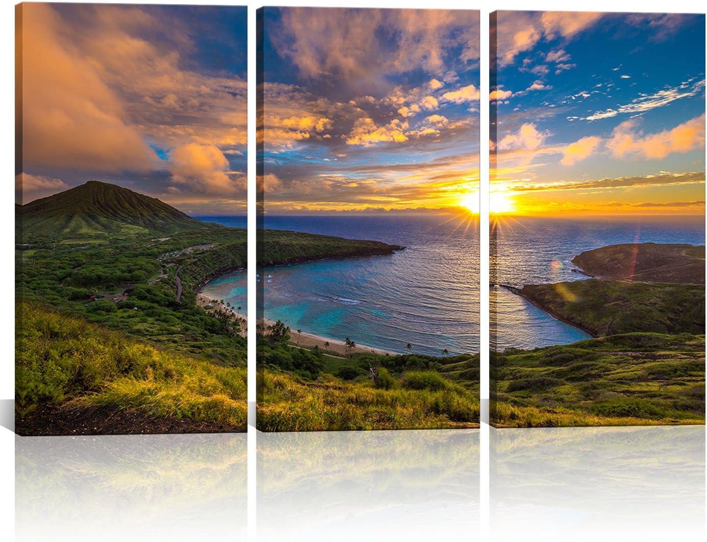Sunset on Ala Moana Beach Honolulu Hawaii Large Canvas Wall Art Picture Print A0