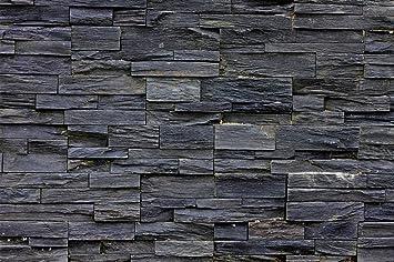 great-art Fototapete 3d Effekt Black Stonewall Wandbild Dekoration ...