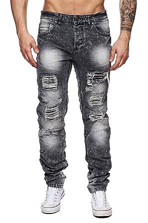 e08fd2da23ba MEGASTYL Herren Hose Acid-Washed Destroyed Jeans Schwarz Grau Slim-Fit  Skinny 5-Pocket Baumwolle  Amazon.de  Bekleidung