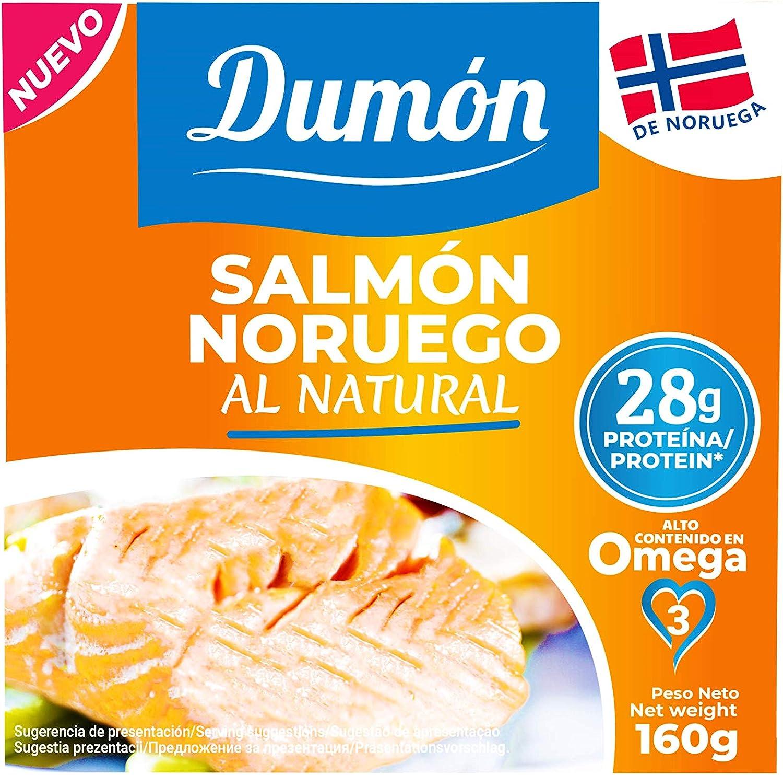 DUMON - NUEVO - 12 unidades de 160 gramos de Conservas de Salmón Noruego en Su Propio Jugo, Sin Espinas ni Piel. 28 Gramos de PROTEÍNA por Porción. Pescado enlatado con OMEGA 3, sin gluten.