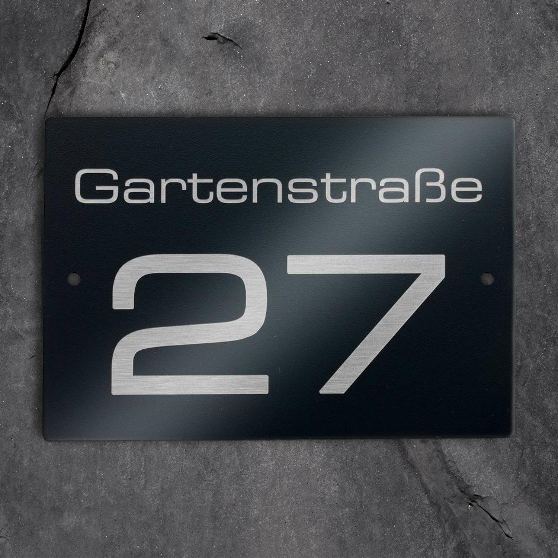 witterungsbest/ändig /& langlebig Laser-Gravur inkl Hausnummer- und Stra/ßen-Schild in Anthrazit RAL7016 mit Bohrungen