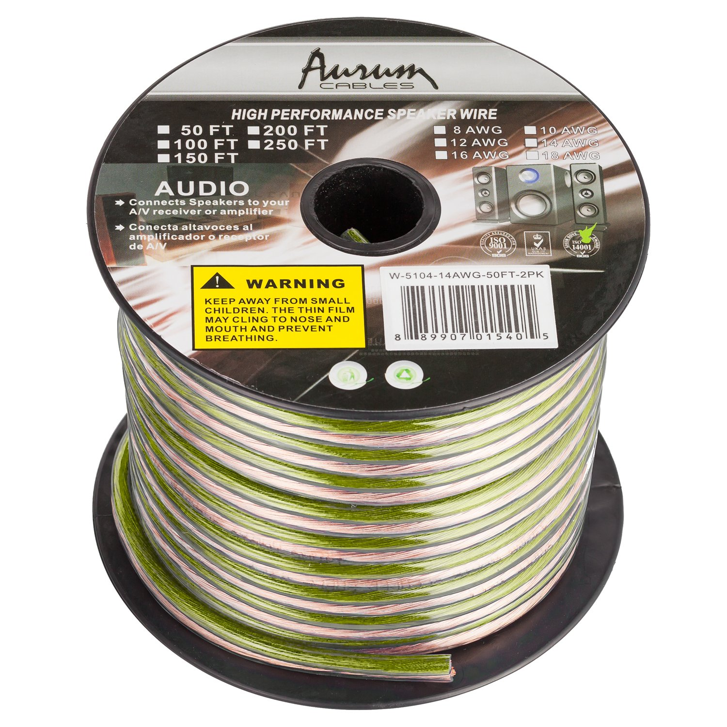 Amazon.com: Aurum Cables 16 Gauge Transparent PVC Speaker Wire w/ ft markings every 5 ft - 100 feet: Electronics