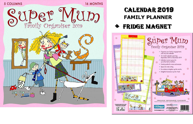 Super Mum Kim NASH Official Family Planner Calendario 2019 +Blank Calamita Da Frigo CALENDARSFORLOVE