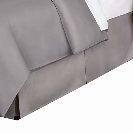 Belles & Whistles 400 TC Bed Skirt, Twin, Silver