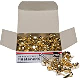 Charles Leonard Inc., Fasteners, Round Head, Brass Plated 3/8 Inches Shank, 8 mm Head, 100/Box (1R-BP)