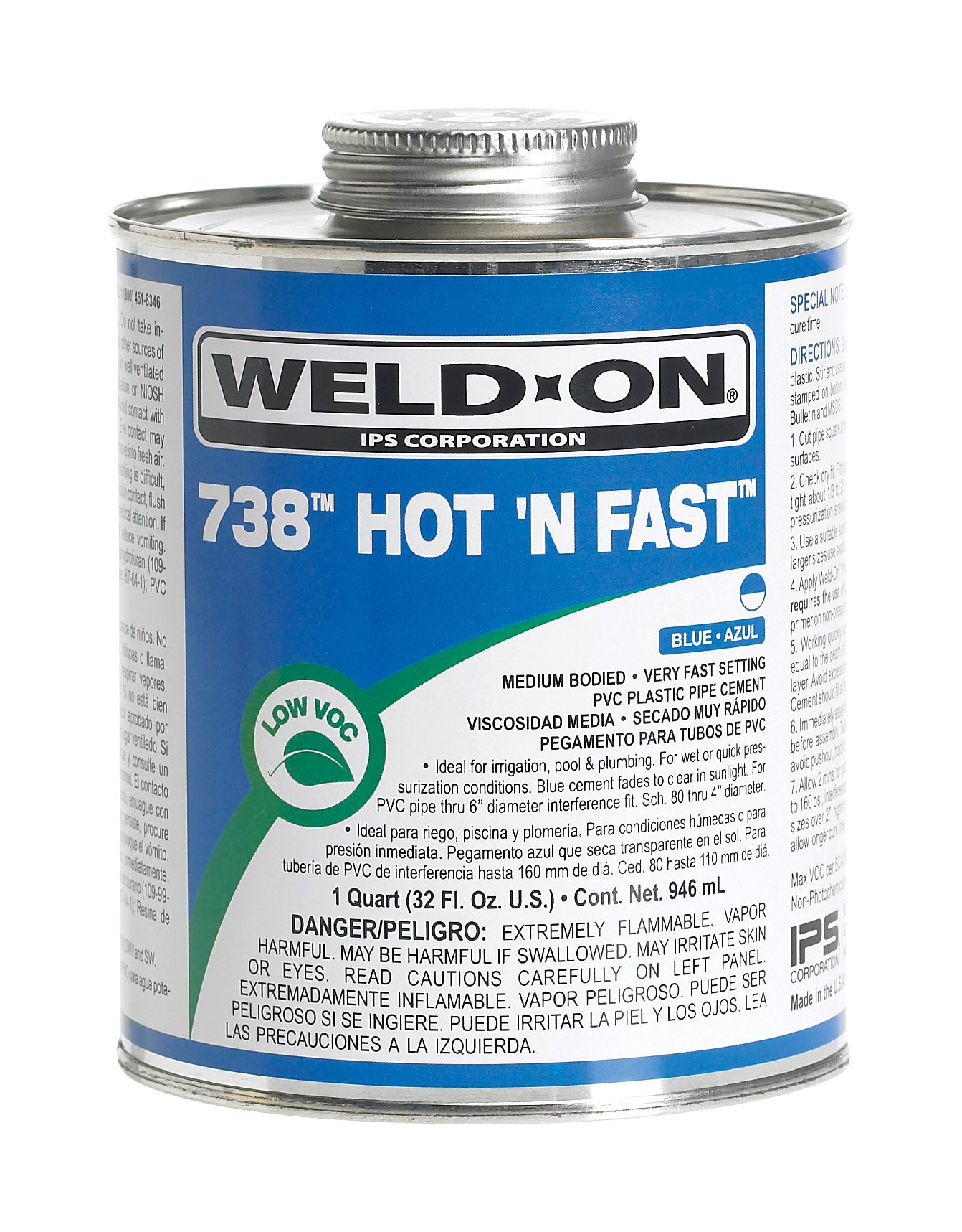 Weld-On 12246 Blue 738 Hot 'N Fast PVC Professional Industrial-Grade Cement, Very Fast-Setting, Low-VOC, 1 quart Can with Applicator Cap