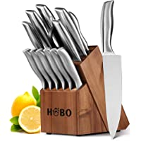 Knife Set, HOBO 14-Piece Kitchen Knives with Wooden Block, All-purpose Kitchen Scissors and Sharpener, Stainless Steel Chef Cutlery Knife Sets