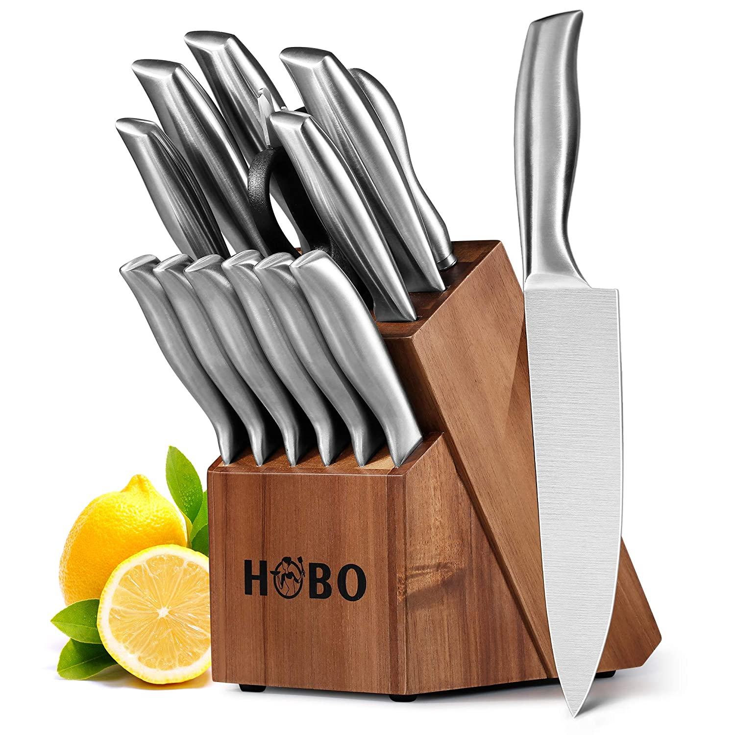Knife Set, HOBO 14-Piece Kitchen Knife Set with Block Wooden, Self Sharpening for Chef Knife Set, Stainless Steel, Boxed Knife Sets 14-Piece Kitchen Knives