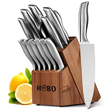 HOBO Knife Set,14-Piece Knives with Wooden Block, All-Purpose Kitchen Scissors and Sharpener Stainless Steel Chef Cutlery, Silver