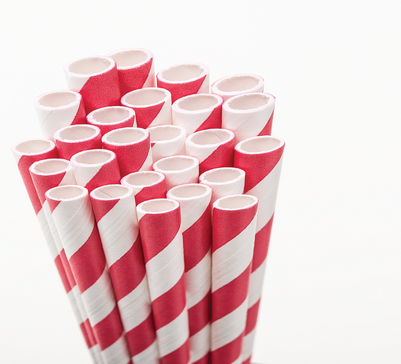 Aardvark 61520005 Paper Drinking Straw, 7/32'' Diameter x 7-3/4'' Length, Candy Apple Red Stripe (8 Boxes of 600) by Aardvark Straws