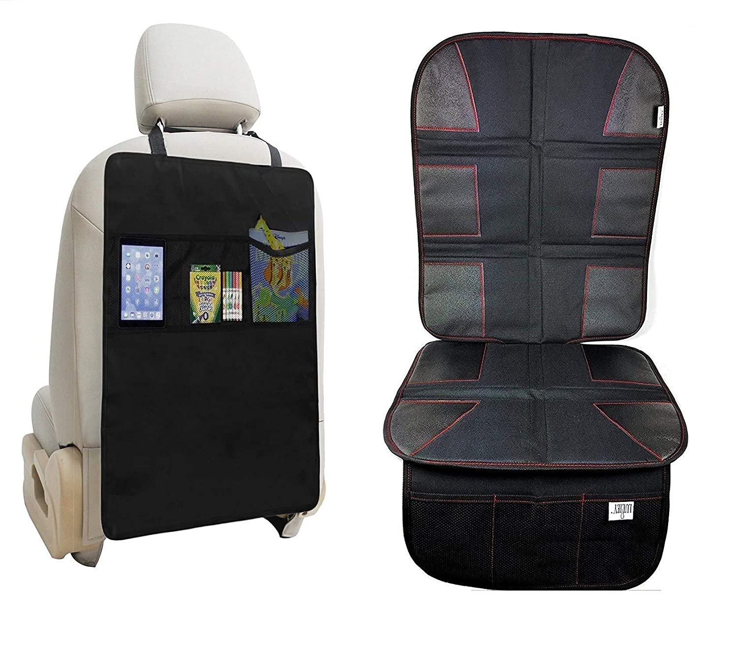 Luliey Car Seat Protector for Leather Seats + Kick Mat Auto Seat Back Protector with 3 Organizer Pocket Durable Quality Protects Automotive Vehicle Cloth Upholstery or Leather Seats