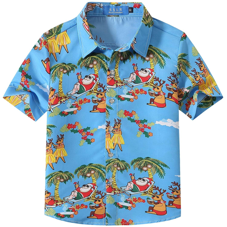 SSLR Big Boys' Holiday Party Button Down Hawaiian Ugly Christmas Shirt