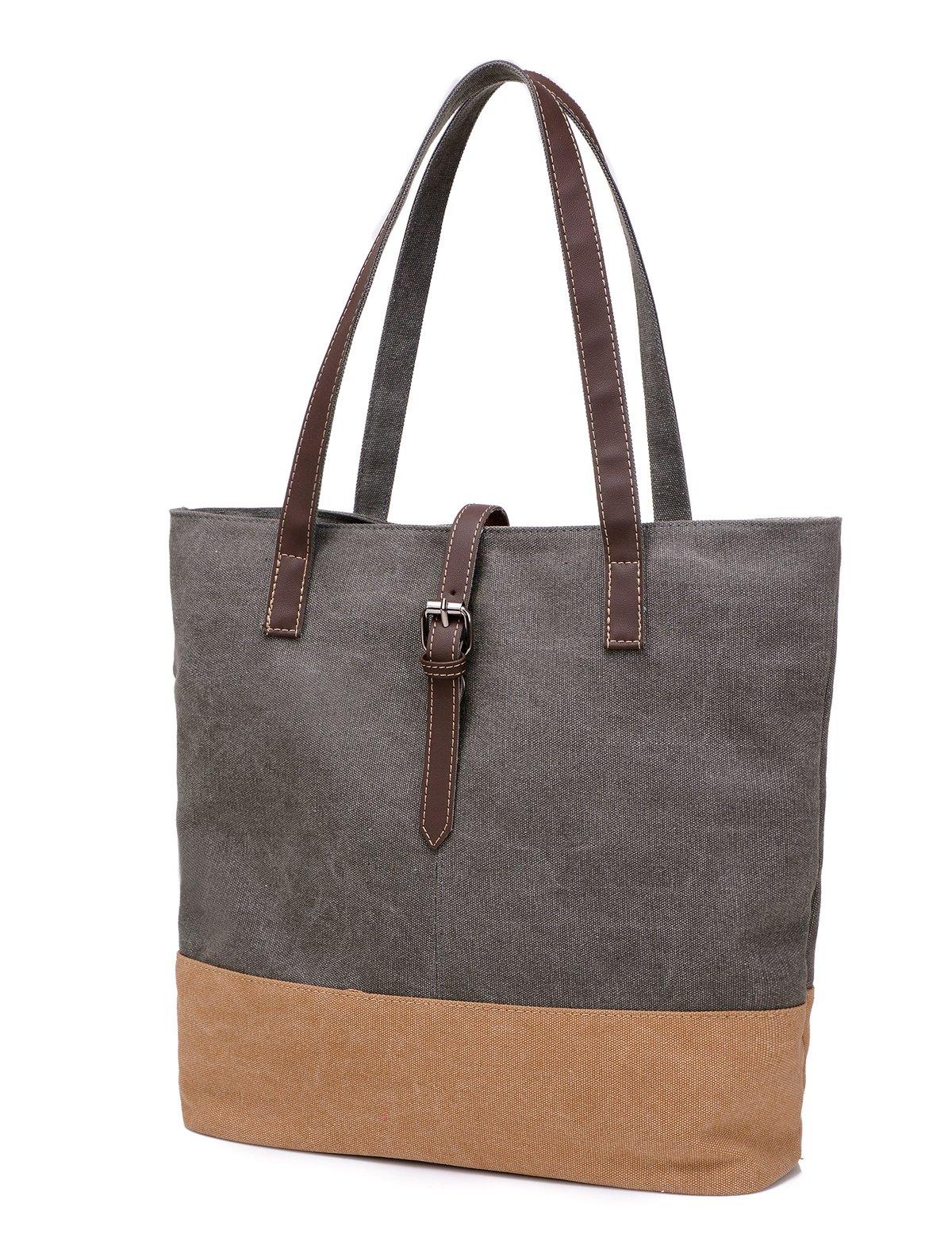 DOURR Women's Canvas Shoulder Bag Handbag Tote purse (gray)
