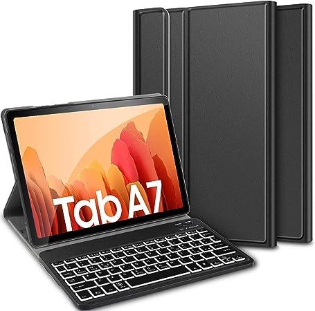 ELTD Teclado funda para Samsung Galaxy Tab A7 10.4 2020, teclado inalámbrico de 7 colores con retroiluminación de tres partes, negro