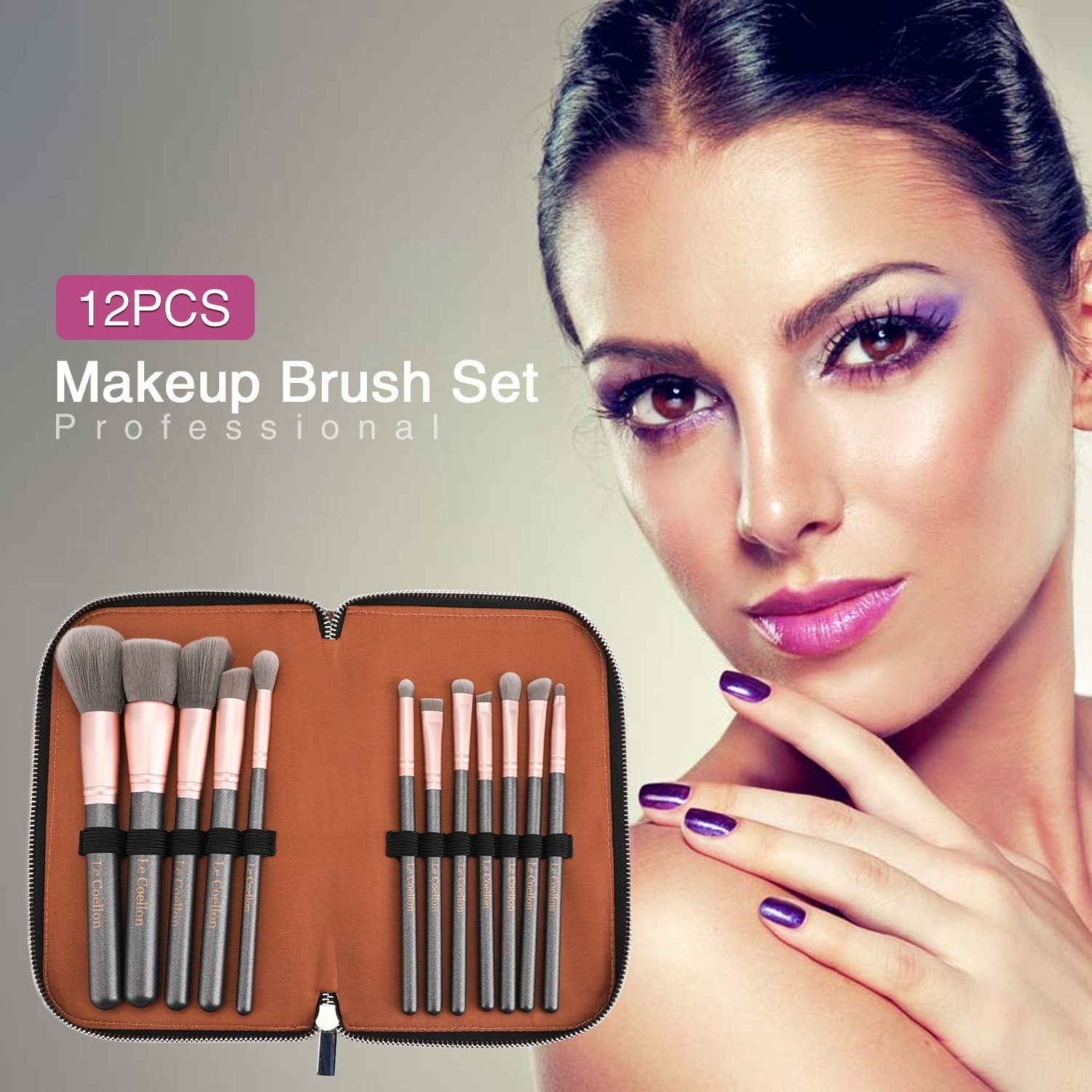 Le Coellon Makeup Brushes Set Professional 12PCS Wooden Handle Antibacterial Brush Face Foundation Concealer Blush Eyeshadow Eyeliner Brush Kit with Bag Cosmetics Tool