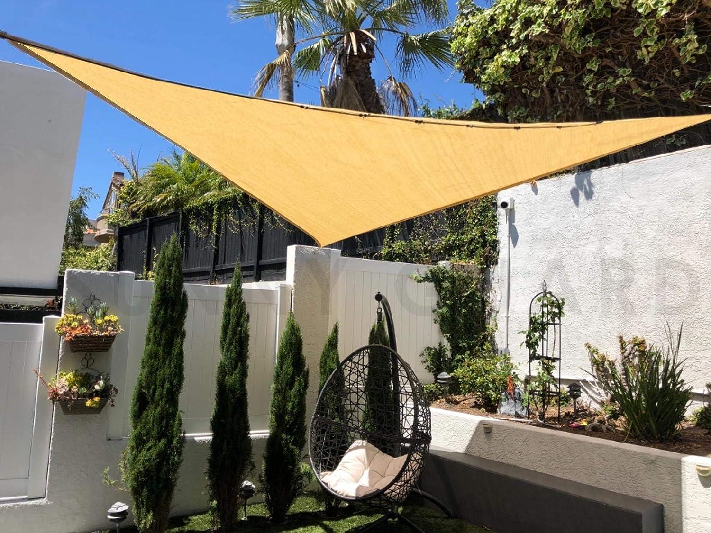 SUNNY GUARD 20' x 20' x 20' Sand Triangle Sun Shade Sail UV Block for Outdoor Patio Garden