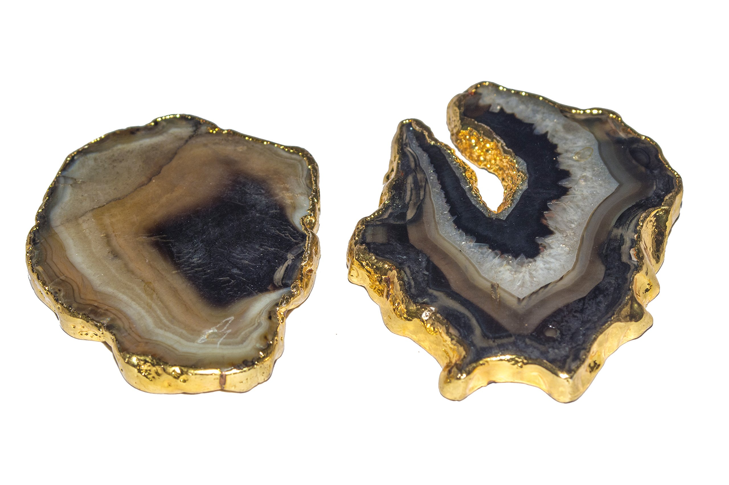 Crocon Natural Agate Slice Dye Colorful Coaster electroplated for Cup Mat Stone Cup Holder Table Geode Home Decoration (Black & Gold, 1.5-2 inch)