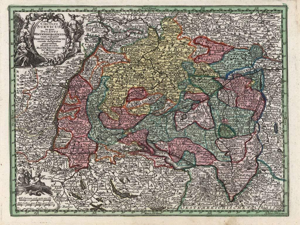Lais Jigsaw Puzzle Matthew Seutter map  Atlas Novas Indicibus Instructus (1744)  group Suevici (Schwaben)  motive series 2000 pieces