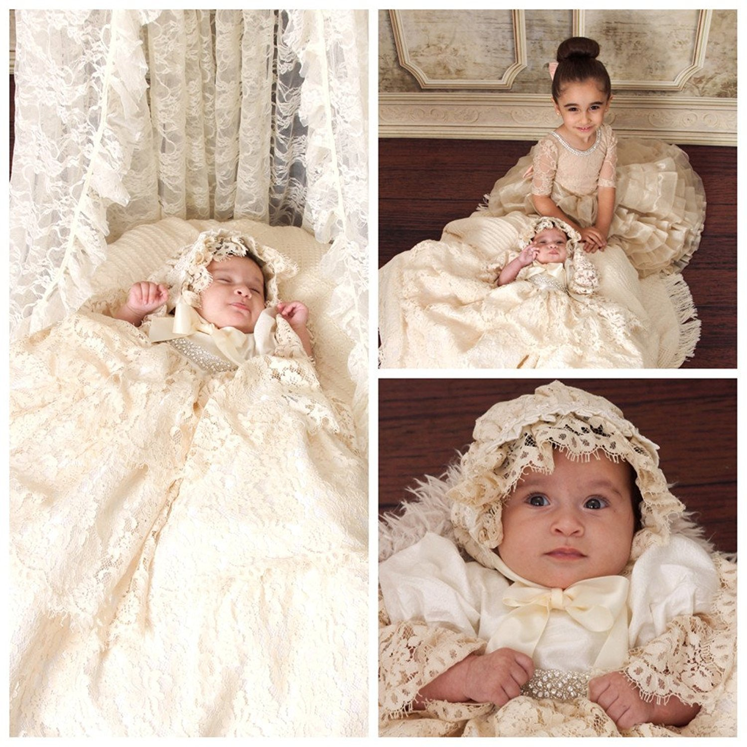 Kelaixiang Baby Girl Long Satin Ribbon Lace Christening Dress with Hat Christening Gowns
