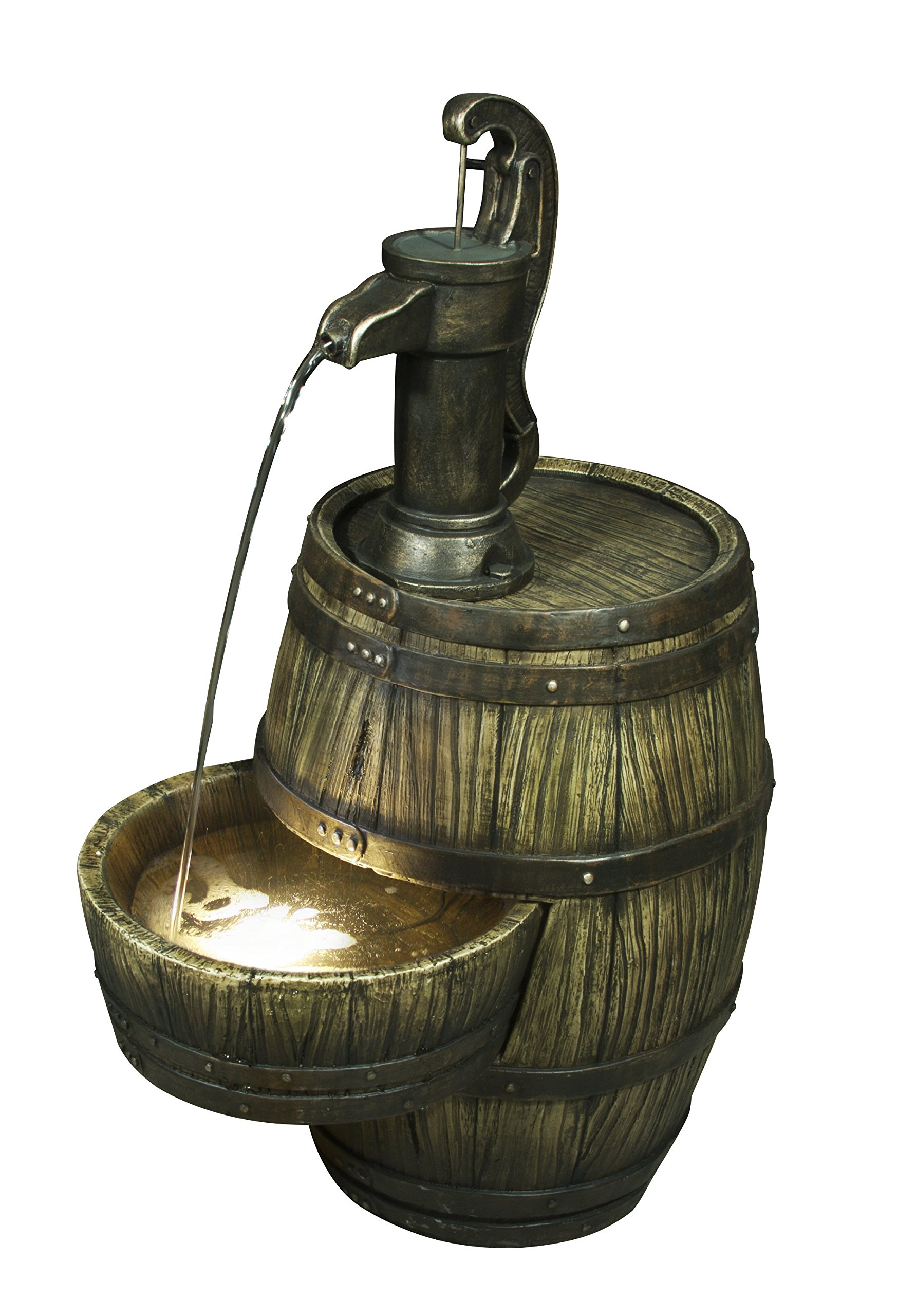 Hi-Line Gift Ltd Barrel with Hand Pump Fountain with LED Light