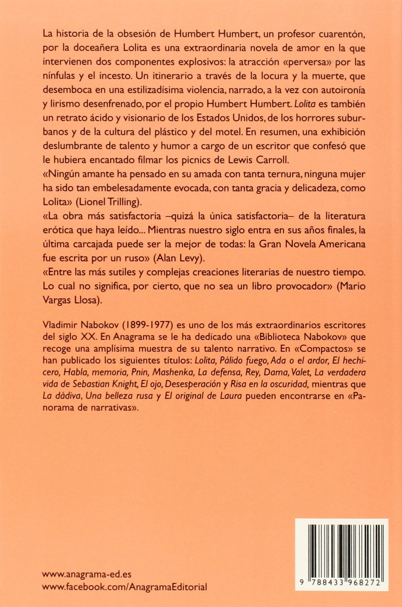 Lolita (Compactos Anagrama): Amazon.es: Vladimir Nabokov, Francesc ...