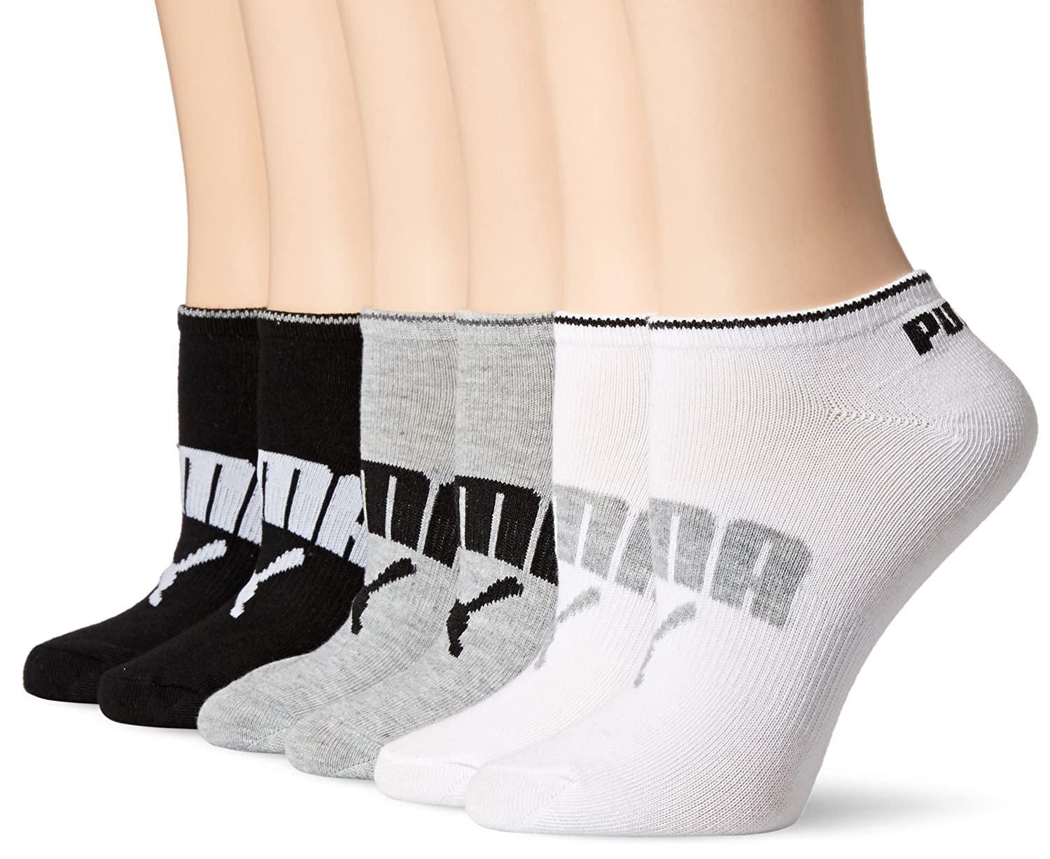 PUMA womens Athletic Low Cut Running Sock With Arch Support 6-pack White/Grey/Black 9-11 Puma Women' s Socks P105431