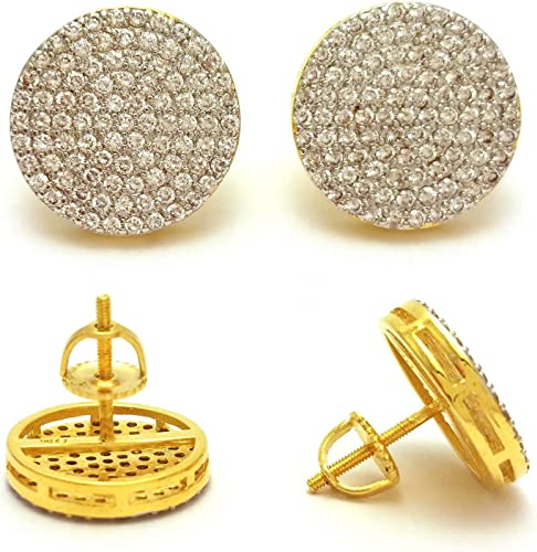 New Sterling Silver Yellow Gold Finish Simulated Lab Diamond Round Studs 15mm
