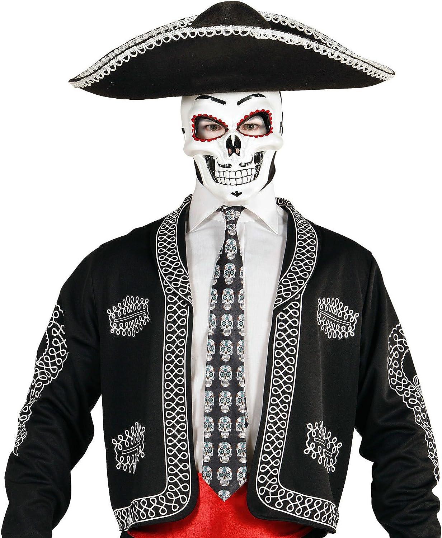 WIDMANN ? Corbata Dia de los muertos de satén mens, negro, talla ...