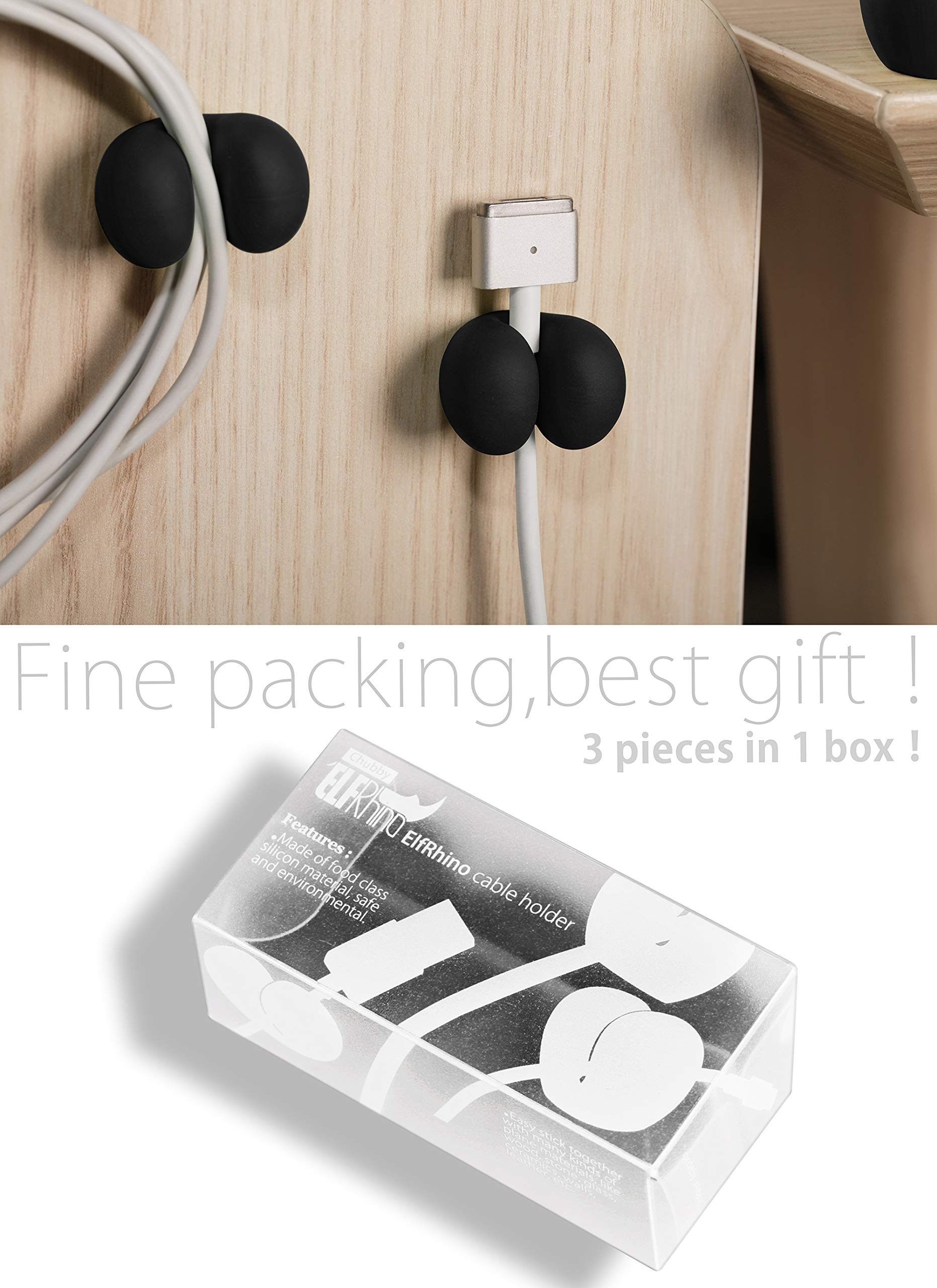 ELFRhino Cable Clips Cord Management with Holder System Desktop Cable Organizer Computer Electrical Charging or Mouse Cord Holder for Home Office Desk Accessories Set of 3 by ELFRhino (Image #7)
