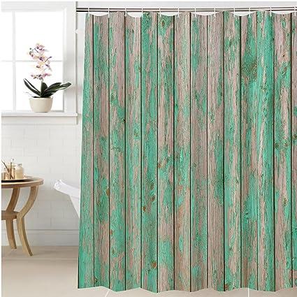 Amazon.com: Gzhihine Shower curtain green barn wooden wall planking ...