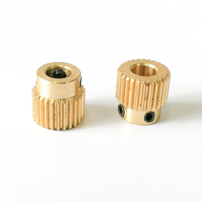 Packung mit 2 St/ück Samje MK8 Edelstahl Extruder Antriebsrad Riemenscheibe 5mm Bohrung f/ür 1,75mm /& 3mm Filament Reprap Makerbot 3D Drucker