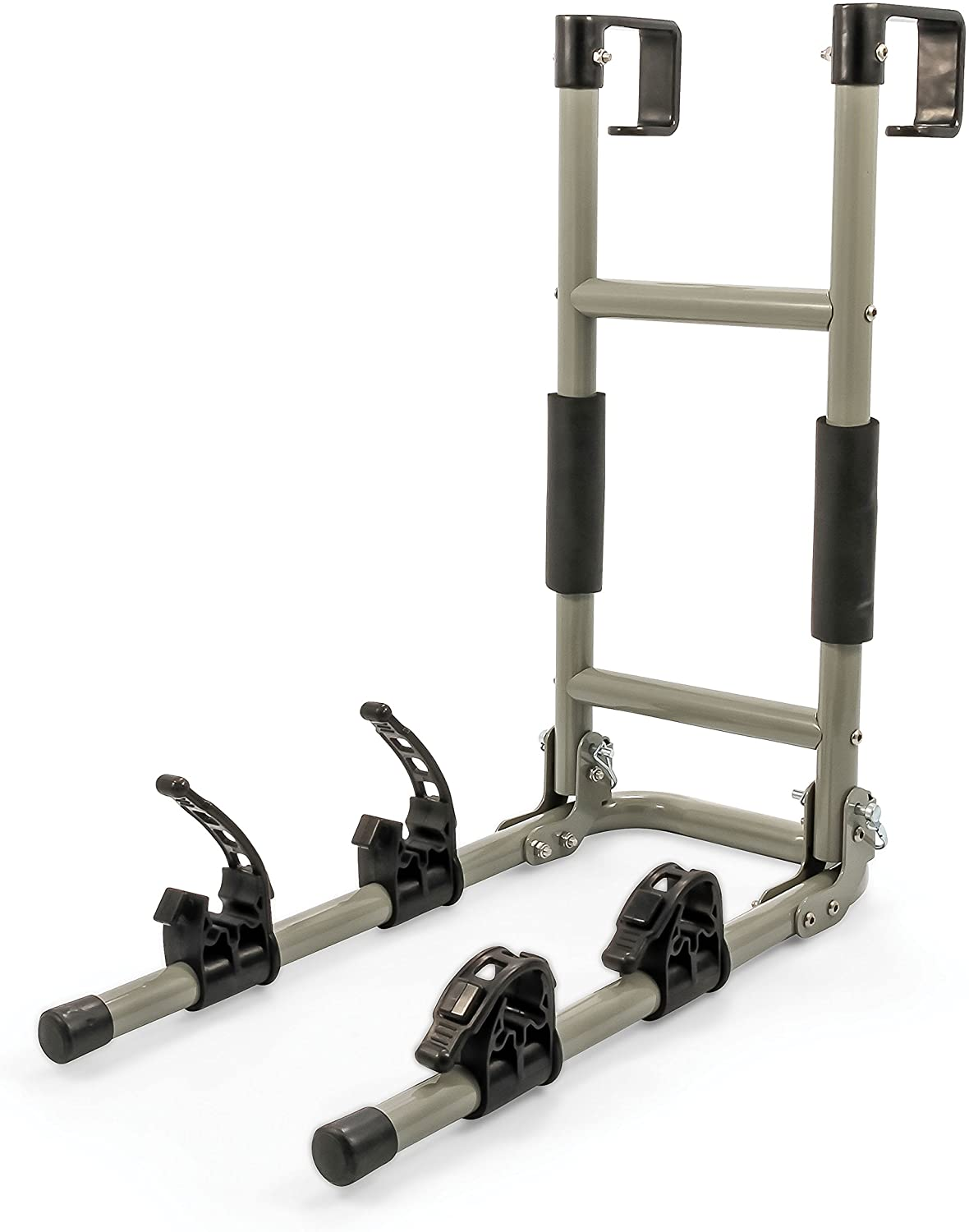 Camco RV Ladder Mount Bike Rack - Easily Installs on Standard RV Ladders, Holds Two Bikes at Once, Folds for Convenient Storage