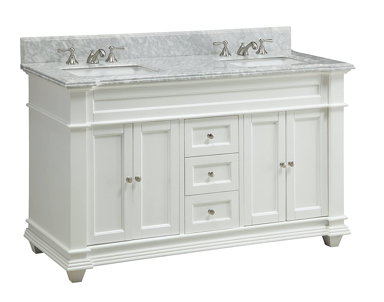 Amazon.com: 60 Inch Italian Carrara marble top Kendall Bathroom sink ...
