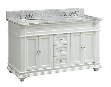 60 Inch Italian Carrara Marble Top Kendall Bathroom Sink Vanity Cabinet    Model HF085