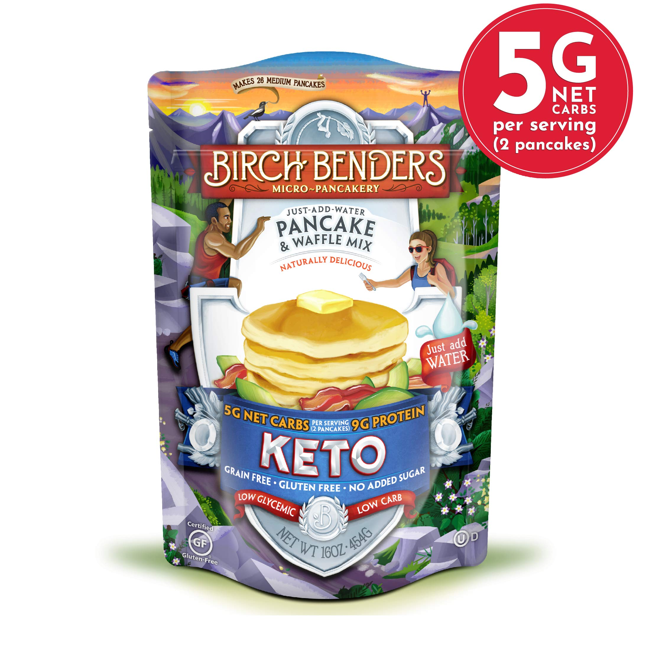 Keto Pancake & Waffle Mix by Birch Benders, Low-Carb, High Protein, Grain-free, Gluten-free, Low Glycemic, Keto-Friendly, Made with Almond, Coconut & Cassava Flour, 16 Ounce (Pack of 1) by Birch Benders
