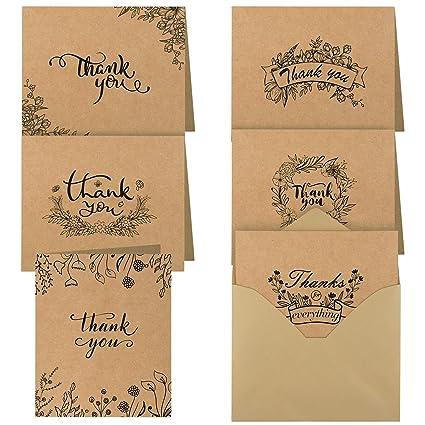 TUPARKA 36 Piezas Nota de Agradecimiento Tarjetas Gracias Tarjetas de Regalos Tarjetas de Felicitacion con Sobres para Thanksgiving Day San Valentín ...