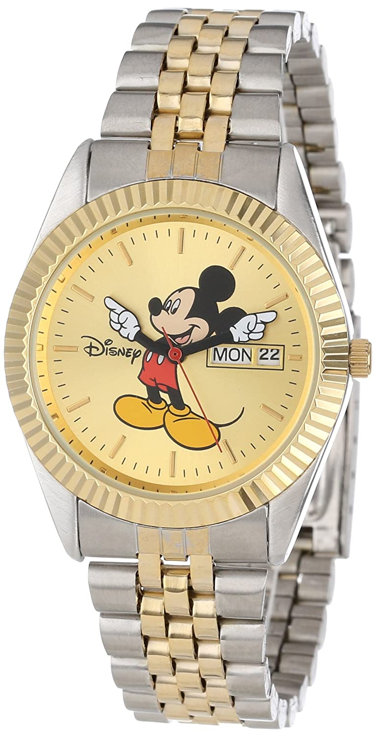6316c17dedd Amazon.com  Disney Men s MM0060 Two-Tone Mickey Mouse Watch with Day and  Date Movement  Watches
