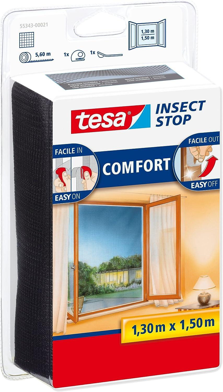 tesa 55343-00021-00 55343-00021-00-Malla Anti-Insectos Ventanas Negra 1,3m x 1,5m, Standard, 1,30m x 1,50m