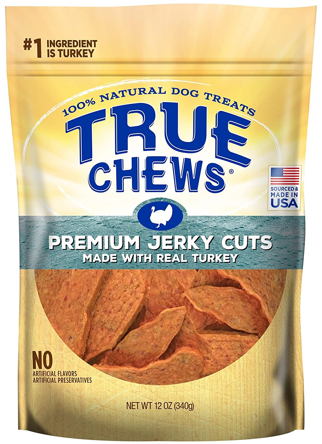 Medium True Chews Premium Jerky Cuts Made with Real Turkey 12 oz, 6 Count