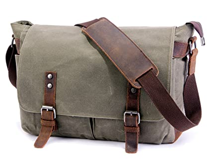 Image Unavailable. Image not available for. Color  SUVOM Mens Messenger Bag,Genuine  Leather Canvas Messenger Bag,Waterproof Laptop Messenger Bag For 3d23f2a2a7