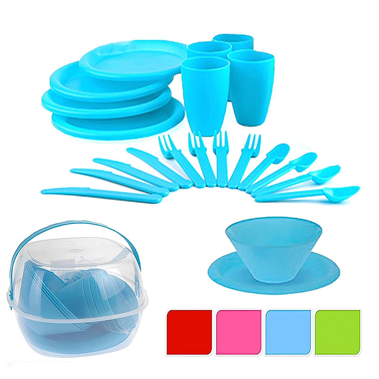 30 Piece Plastic Picnic Camping Party Dinner Plate Mug Cutlery Set Storage Box The Magic Toy Shop 8711295447037