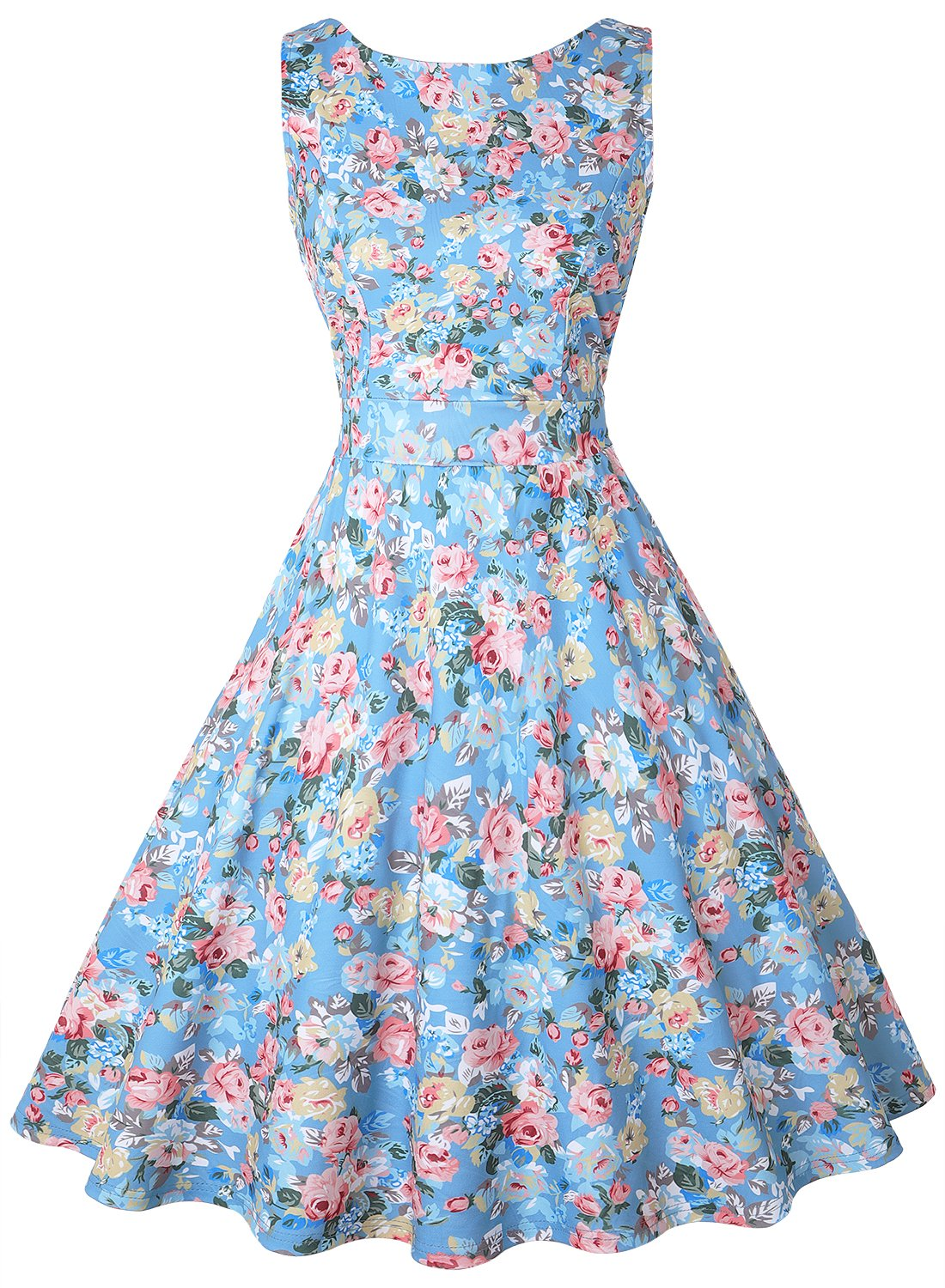 OLADY Women's Boatneck Sleeveless Vintage Fit and Flare Rockabilly Floral Dress (S, Blue Floral)