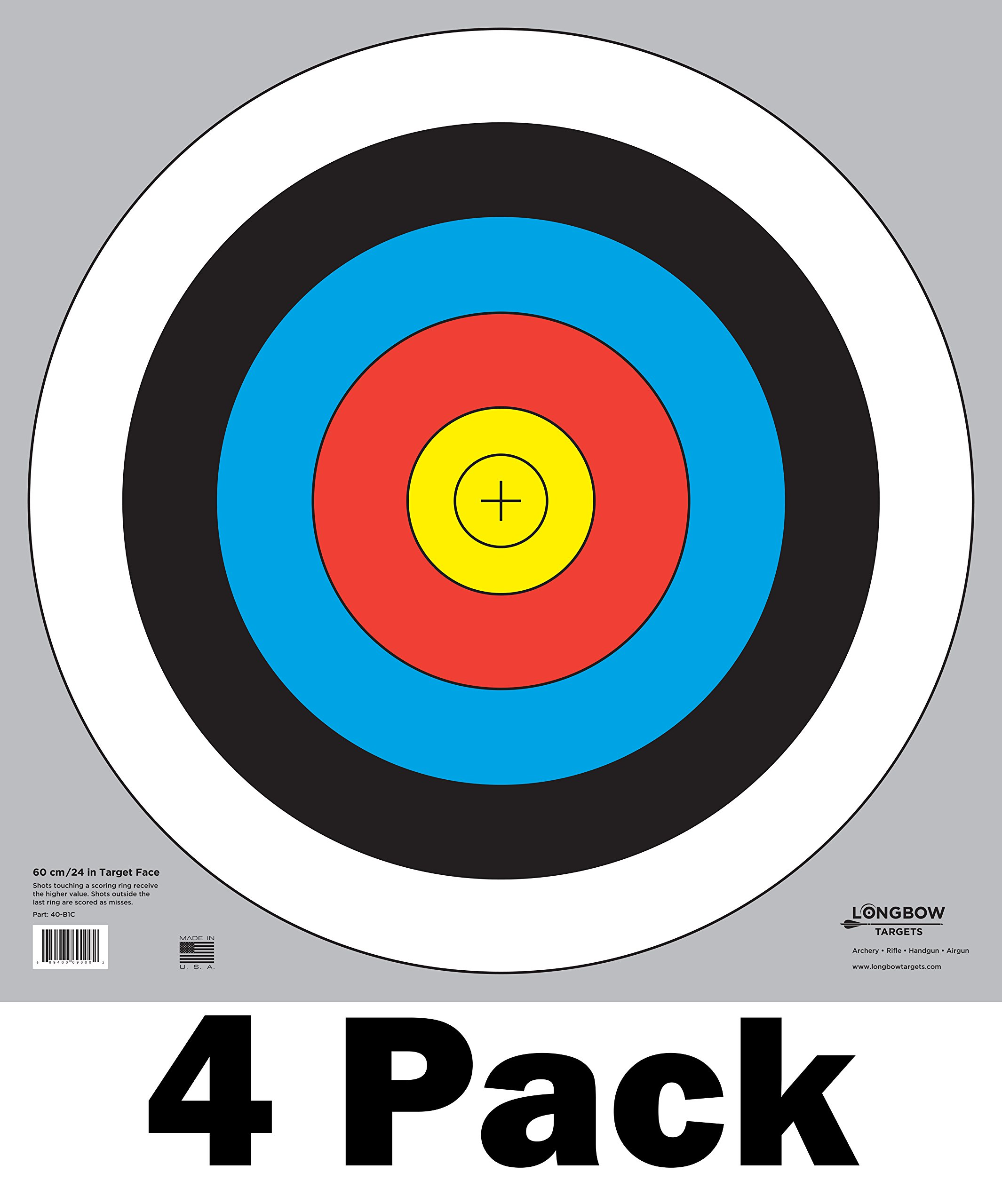 60 cm / 24 in Bullseye Archery and Gun Targets by Longbow Targets (4 Pack)
