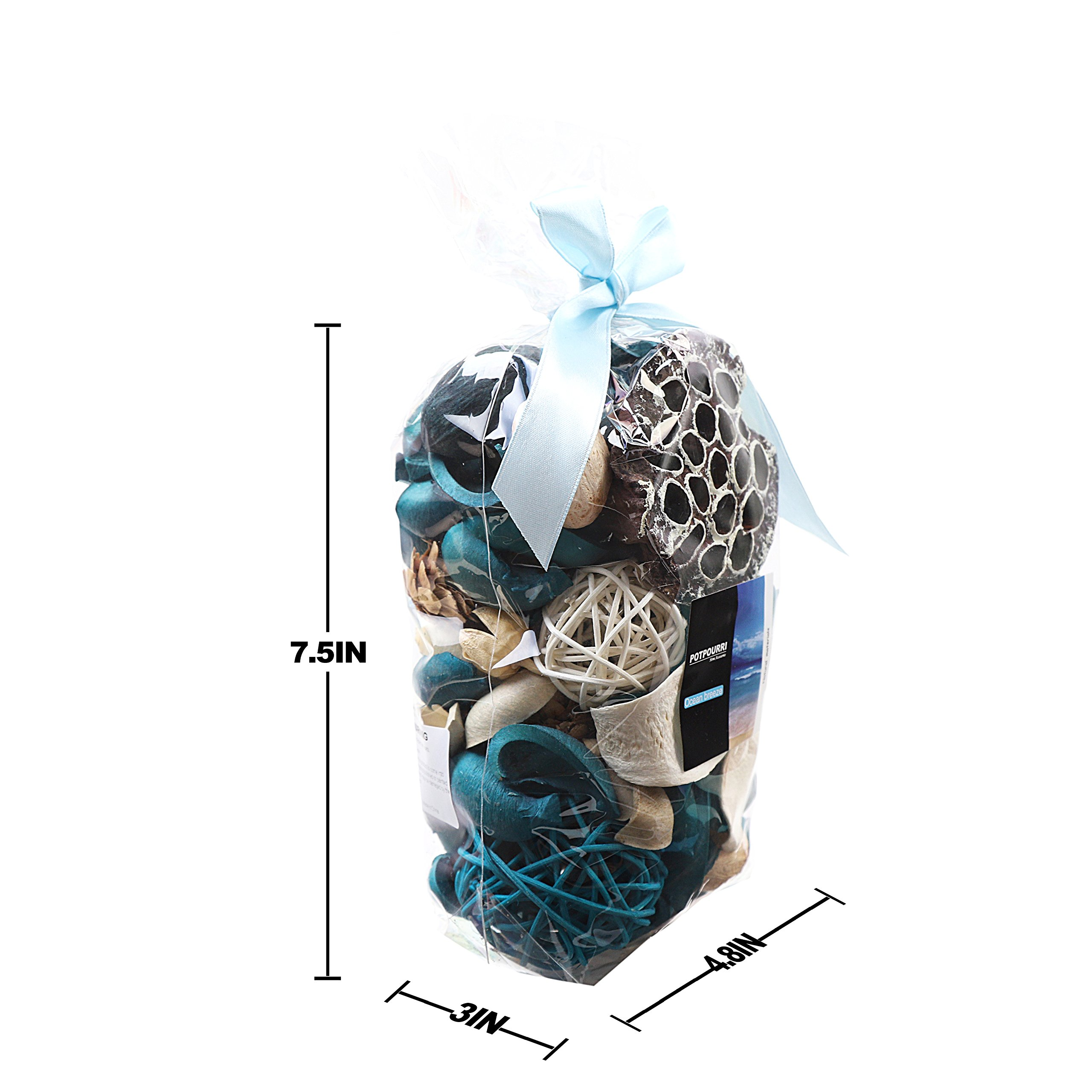 Qingbei Rina Ocean Scent Summer Potpourri Bag Decorative Perfume Sachet, Rattan Balls Lotus Pods Pine Cones Dried Flowers and Plants, 9.9 Ounce Turquoise Blue by Qingbei Rina (Image #5)
