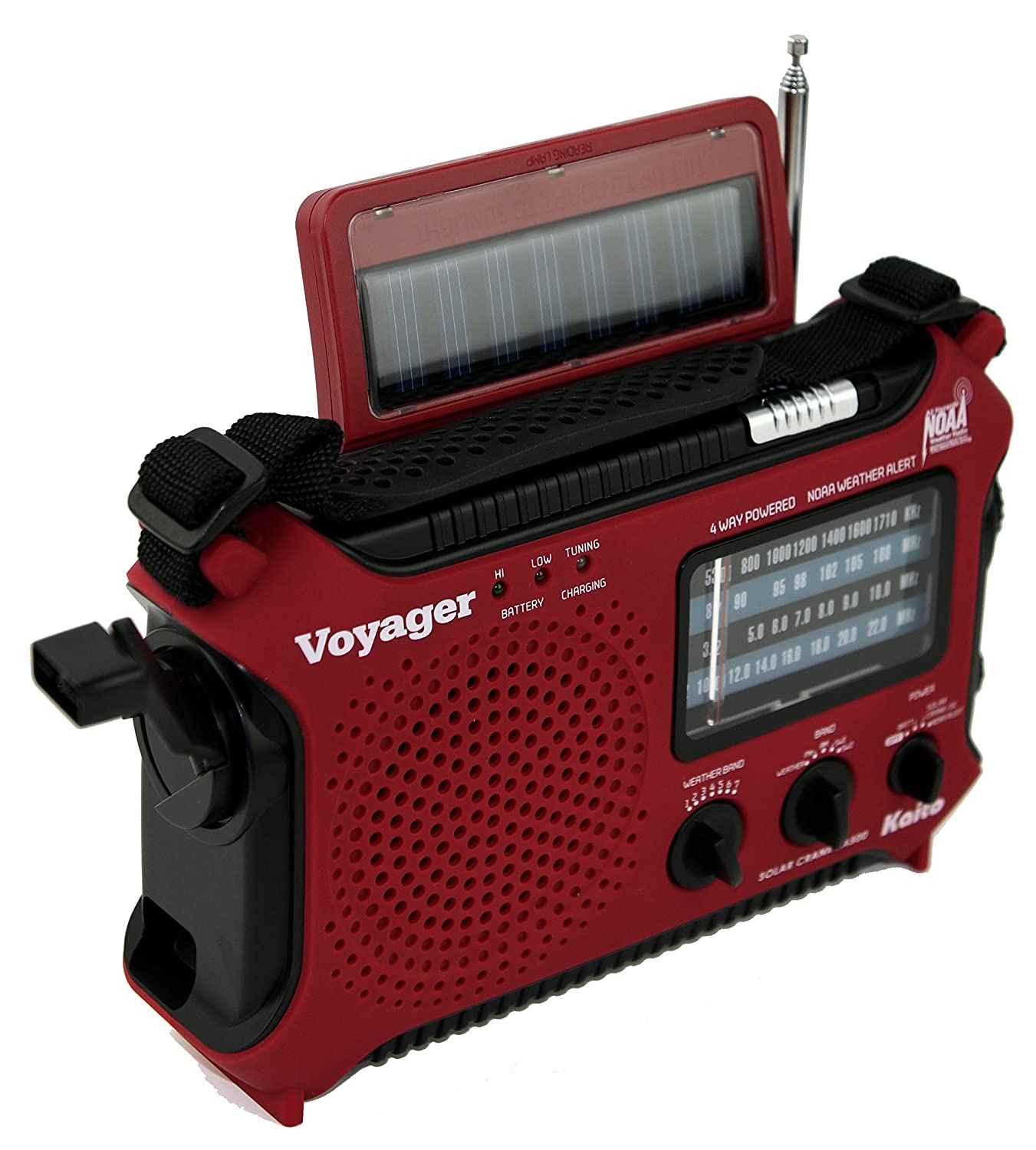 Kaito KA500IP-RED Voyager Solar/Dynamo AM/FM/SW NOAA Weather Radio with  Alert and Cell Phone Charger, Red