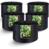 MAXSISUN 5-Pack 10 Gallon Plant Grow Bags, Heavy Duty Thickened Non-Woven Aeration Fabric Pots Container with Reinforced…