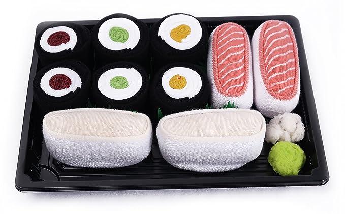 Sushi caja de calcetines – 5 pares – butterfish, salmón, Maki pepino, Maki