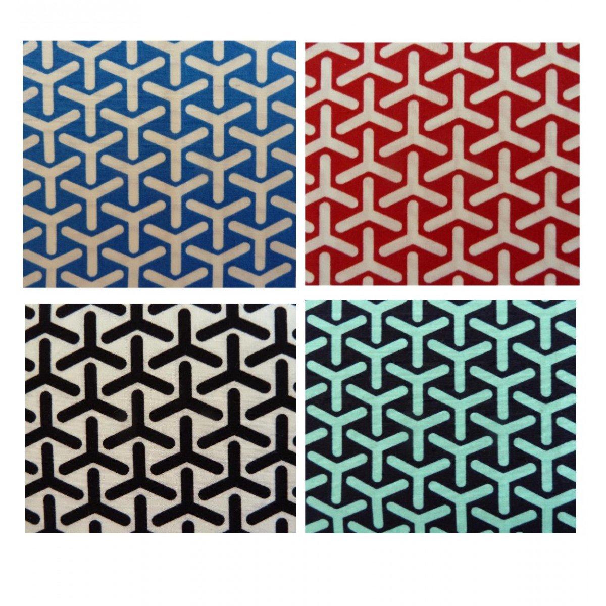 Unique Boutique - 4er Set: Vier Stofftaschentücher rot blau schwarz grün gemustert Damen Herren Kinder Stofftuch Bumerang