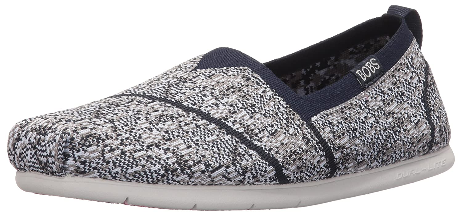 Skechers BOBS from Women's Plush Lite Custom Built Flat B01G620LYK 7.5 B(M) US|Navy/Gray Knit